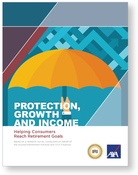 "iri full report cover image: umbrella hanging over the words ""protection, growth and income"""