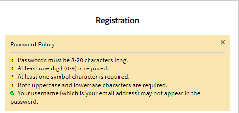 password policy: must be 8-20 characters long; at least one digit; at least one symbol; both uppercase and lowercase required; username (email) may not appear in the password