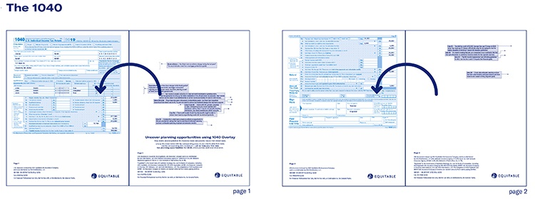 Two examples of the overlay with 1040 tax form.