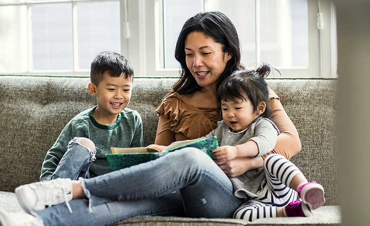 Mother reading to her two children
